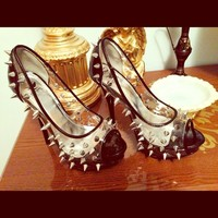 Black Spiked Stilettos
