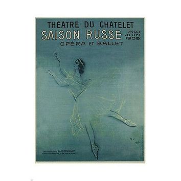 poster FOR BALLERINA ANNA PAVLOVA'S TOUR OF FRANCE Serov Russia 1909 24X36