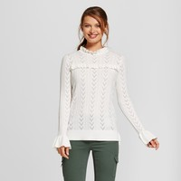 Women's Ruffle Any Day Pullover - A New Day™ Cream