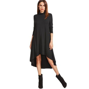 New Arrival Autumn Full Sleeve Black Cowl Neck Long Sleeve High Low Swing T-shirt Dress