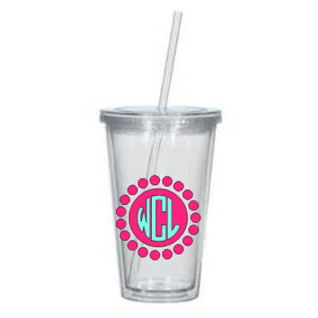 Monogrammed tumbler - personalized scallop Circle Font