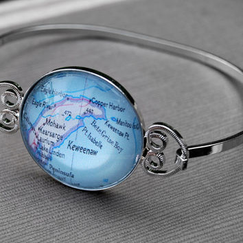 Keweenaw Peninsula Upper Michigan - Bracelet Bangle Jewelry - Vintage Map