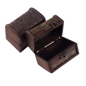 New Wood Vintage Retro Handmade Small Storage Box Case Flower Metal Lock Jewelry Box
