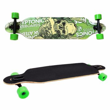 New Professional Canadian Maple Skull Skateboard Road Longboard Skate Board Adult 4 Wheels Downhill Street Long Board