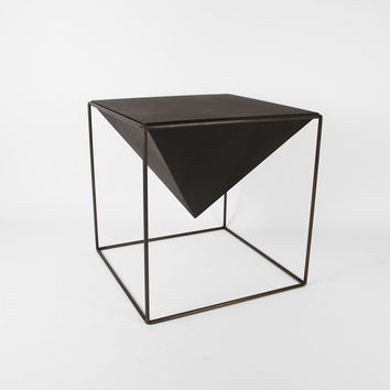 "Cube Pyramid Table - 12"" Black - Handmade Geometric Steel Wire Frame Table - HybridForm Metal Furniture - Crosstree Seed Products"