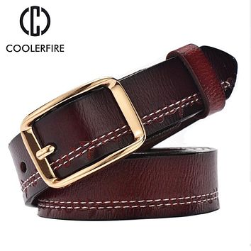 2017 fashion women belts luxury all-match genuine leather belt high quality pin buckle wide vintage cowskin strap female WH003