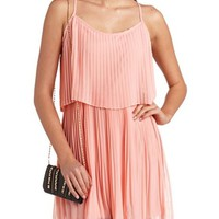 FLOUNCE PLEATED CHIFFON DRESS