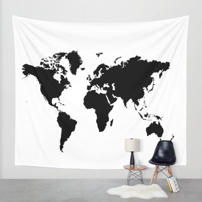 Black and white world map wall tapestry from society6 wall gumiabroncs Gallery