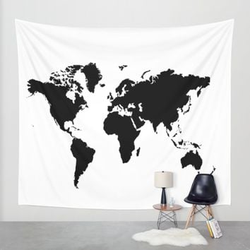 Black And White World Map Wall Tapestry By Haroulita | Society6