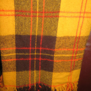 Plaid Blanket,  golden yellow orange browns Soft Wool Tartan Plaid Fringed Throw, Camping Tailgating Stadium Lap Blanket