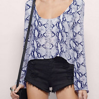 Plunge Neck Chiffon Blouse In Snake Print