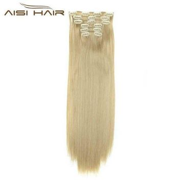 ac ICIKO2Q I's a wig Blond  Synthetic  Clips in Hair Extension Long Straight 22' 140g 16 Clips False Hair pieces  Brow Black White Color