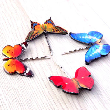 Butterfly bobby pin, Hair clip, Hair accessories, Summer jewelry, Bobby pin, Butterfly jewelry, Insect jewelry, Not real butterfly