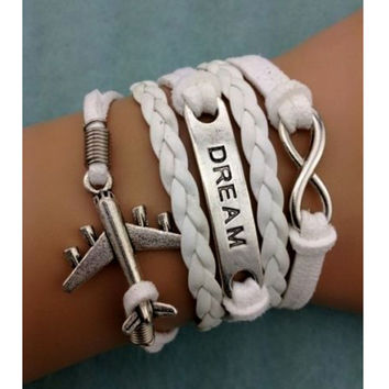 NEW White Dream Infinity Aircraft Leather Charm Bracelet plated Silver DIY
