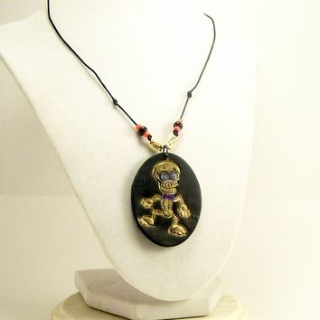 Skeleton Pendant, Whimsical Art Pendant, Hippie Style, Affordable Fun Handmade Polymer Clay Jewelry