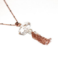 Tassel Jewelry Herkimer Diamond Necklace Tassel Necklace Rose Gold Necklace Herkimer Quartz Jewelry Herkimer Necklace Rose Gold Tassel