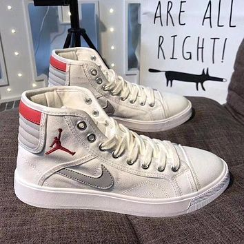 Best Online Sale Supreme x Nike Retro Air Jordan Sky High OG Mid White Red Grey Shoes
