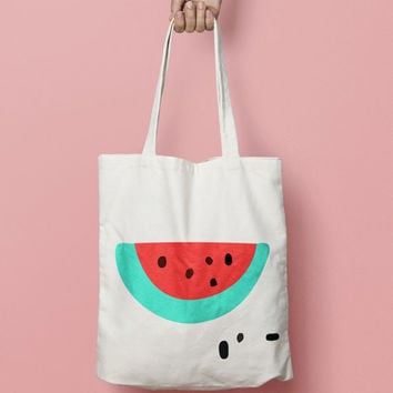 Watermelon Tote Bag Canvas - Canvas Tote Bag - Printed Tote Bag - Market Bag - Cotton Tote Bag - Large Canvas Tote Funny Quote Bag