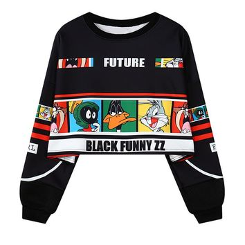 Cropped Drop-shoulder Women Sweatshirt Harajuku Fashion Cartoon Looney Tunes Picture Printed Clothing Hoodie,nwy361