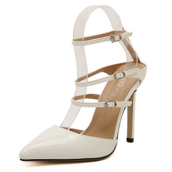 4b65be3ebb0c Design Stylish Summer Ring Pointed Toe Ppurses Shoes Patchwork High Heel  Sandals  6395043201