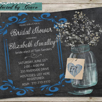 DIY Printable Chalk Board with Mason Jar Bridal Shower Invitation with Blue accents and Heart Design