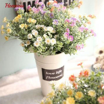 Mini decor plastic flower decoration artificial flowers cheap perennial chrysanthemum plants  for Home Decoration