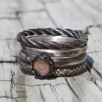 oxidized sterling silver paua shell stacking ring set rings any size