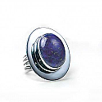 Sterling Silver and Lapis Lazuli Thick Frame Oval Ring