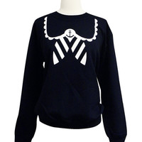 Sailor Sweatshirt - Nautical Anchor Navy Blue Sweater - Available in sizes S, M, L, XL