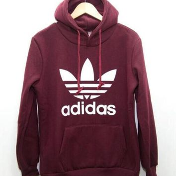 """Adidas"" Print Hooded Pullover Tops Sweater Sweatshirts Wine red"