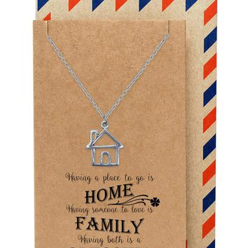 Kassidy Family Necklace with House Charm Pendant, Gifts for Mom, Sisters and Friends that has an Inspirational Quote