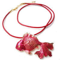 Goldfish Necklace, Japanese necklace with genuine leather cord / Pinkish Pearl Red Golden, Kingyo / Choose leather color