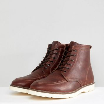 ASOS Lace Up Boots In Brown Leather With White Sole at asos.com