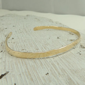 Gold Cuff Bracelet, 14K Gold Fill Hammered Cuff Bracelet, Simple Gold Cuff, Stacking Bracelets, Gift For Her