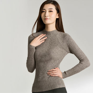 High Quality 2015 New Women Cotton Sweater Women fashion Autumn and Winter Warm Turtleneck Sweater Women Pullovers Free Shipping