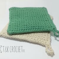 Tunisian Crochet Hot Pad - Crocheted Pot Holder - Thick Cotton Crochet Trivet - Set of 2