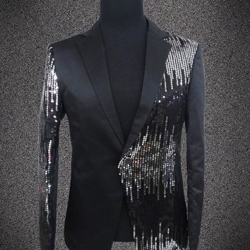 Plus size sequins blazer male singer DJ formal dress the groom paillette costume Wedding Slim Fit Groom jacket For Men