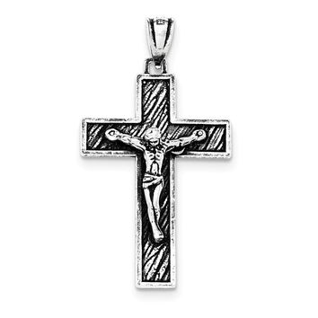 Sterling Silver Antiqued Large Box Cross Crucifix Pendant