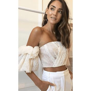 Forever Fresh Beige Geometric Pattern Short Ruffle Sleeve Off The Shoulder Crop Top Blouse