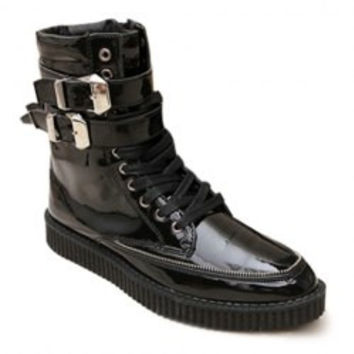 Fashion Men's Boots With Patent Leather and Buckles Design