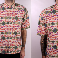 Vintage 90s - Olive Green & Coral Ethnic Tribal Style Fish Novelty Print - Mens Patagonia Button Up Collar Short Sleeve Cotton Shirt