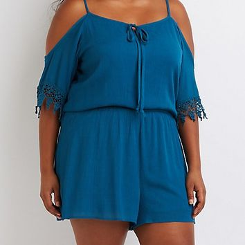 Plus Size Cold Shoulder Crochet-Trim Romper