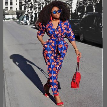 Spring African women blue print jumpsuit