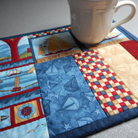 Nautical Quilted Table Mat, Patriotic Snack Mat, Quilted Mug Rug red white blue, Debbie Mumm fabric, small place mat tall ship, gift teacher