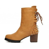 Brown Rivet side zip fashion boots  Solid Pop  style 070100401 in