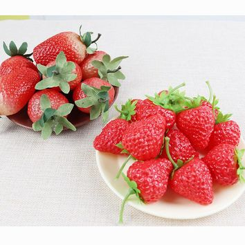 3PCS High Artificial fruit Fake Simulation Strawberry  Model Ornament Craft Photography props Christmas Window Decoration