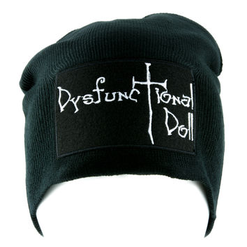 Dysfunctional Doll Logo Beanie Knit Cap Alternative Gothic Clothing
