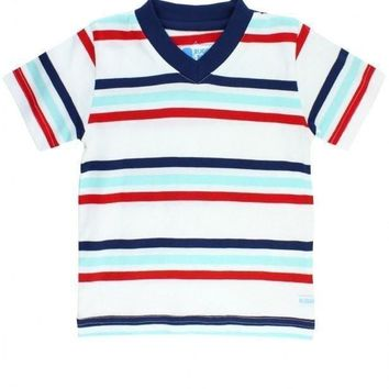 Rugged Butts Red Navy Stripe V-Neck Tee