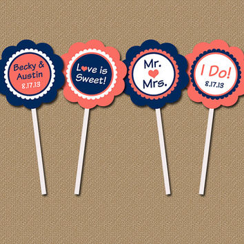 Bridal Shower Cupcake Toppers - Personalized Modern Printable DIY Party Circles - Navy, Coral Wedding Toppers