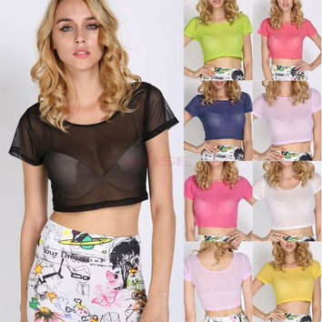 Women Sexy Net Yarn Crop Top Mesh Cutout Sweetheart Neckline Mesh Short Sleeve  Tops Tees One Size SV007680|27701 (Color: Black) = 5613047105